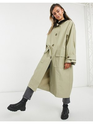 ASOS DESIGN oversized trench coat with corduroy collar in stone-neutral
