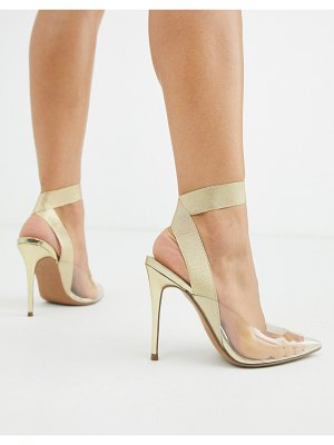 ASOS DESIGN partner elastic stiletto heels in gold