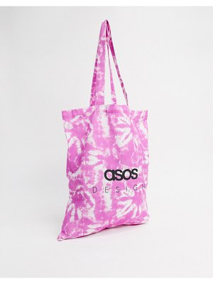 ASOS DESIGN pink tie dye branded tote in organic cotton