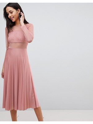 ASOS DESIGN pleated dobby and lace top long sleeve midi dress in mink-beige