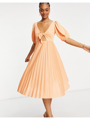 ASOS DESIGN pleated front tie puff sleeve midi skater dress in coral-pink