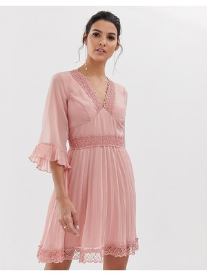 ASOS DESIGN pleated mini dress with lace inserts-pink