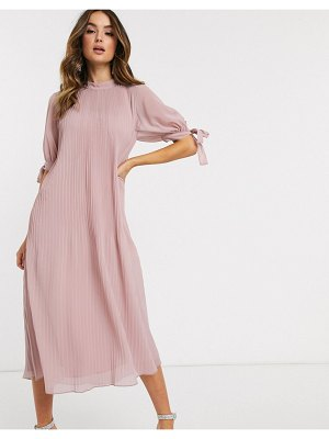 ASOS DESIGN pleated trapeze midi dress with tie sleeves in mink-pink