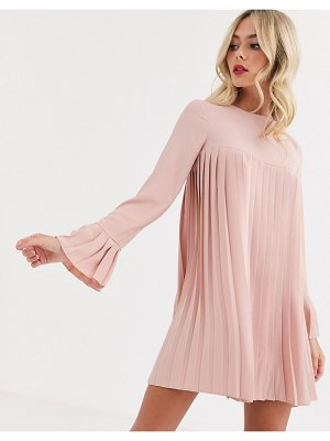 ASOS DESIGN pleated trapeze mini dress with long sleeves in blush-pink