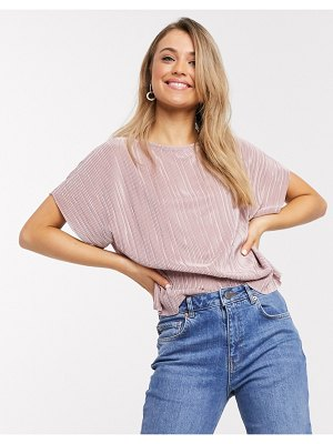 ASOS DESIGN plisse t-shirt in dusty pink