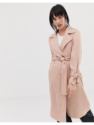 ASOS DESIGN plisse textured coat-pink