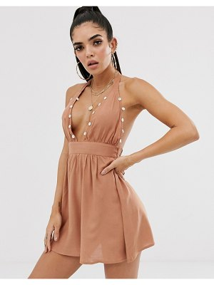 ASOS DESIGN plunge front beach sundress with shell trim