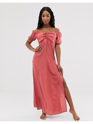 ASOS DESIGN plunge front lace up milkmaid beach maxi dress