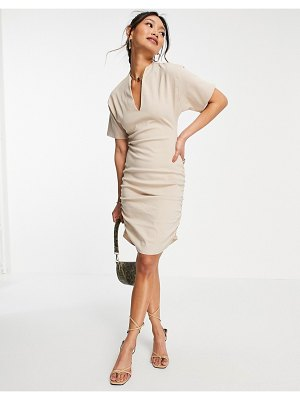 ASOS DESIGN plunge neck line with side ruching mini dress in stone-neutral