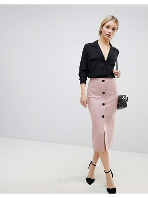 Asos DESIGN ponte button front pencil skirt