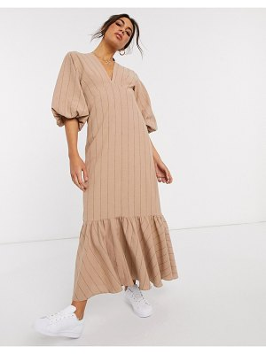 ASOS DESIGN premium casual self stripe plunge midi dress with puff sleeves and pephem-brown