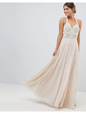 Asos DESIGN Premium Embellished Maxi Dress With Pearl Basque