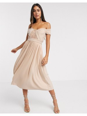 ASOS DESIGN premium lace and pleat off-the-shoulder midi dress in champagne-beige