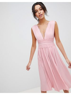 Asos premium lace insert pleated midi dress