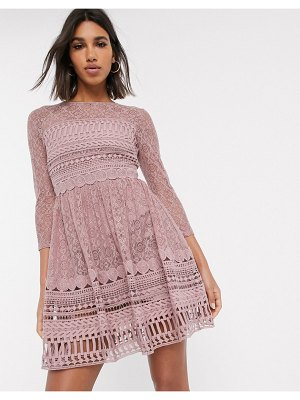 ASOS DESIGN premium lace mini skater dress in mink-pink