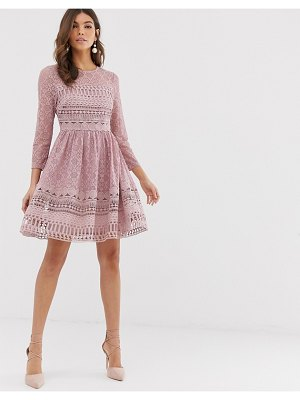 ASOS DESIGN premium lace mini skater dress-pink