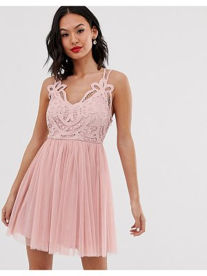 ASOS DESIGN premium lace top tulle cami mini dress-pink