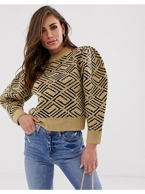 ASOS DESIGN premium monogram sweater with volume sleeve