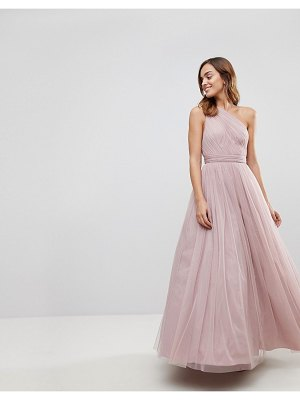 ASOS DESIGN premium tulle one shoulder maxi dress-beige