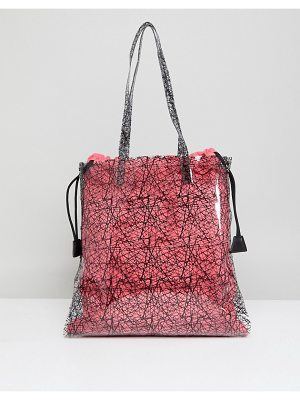 ASOS DESIGN printed clear shopper bag with bright canvas pouch