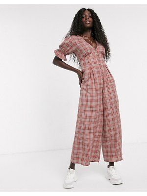 ASOS DESIGN puff sleeve jumpsuit in pink check