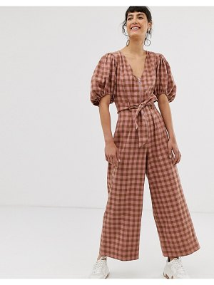 ASOS DESIGN puff sleeve pink check jumpsuit with zip front