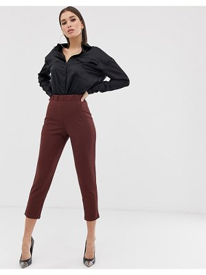 ASOS DESIGN pull on tapered pants in jersey crepe