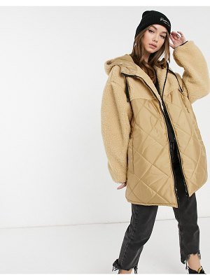 ASOS DESIGN quilted jacket with shearling panels in camel-stone