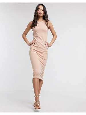 ASOS DESIGN racer neck bodycon midi dress in nude-cream