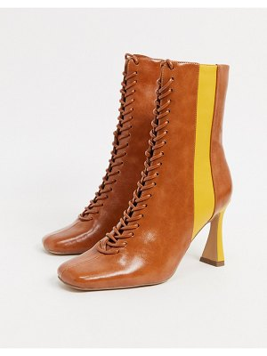 ASOS DESIGN real talk two tone lace up boots in tan mix