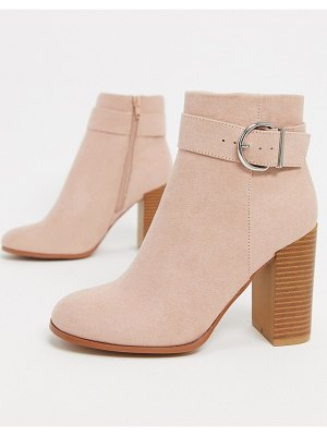 ASOS DESIGN retreat heeled ankle boots in taupe-beige