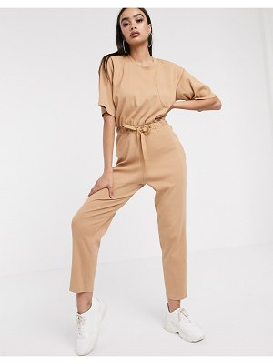 ASOS DESIGN rib short sleeved tie waist jumpsuit