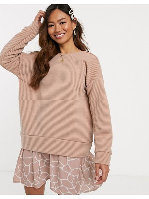 ASOS DESIGN 2 in 1 rib sweat dress with giraffe print hem-pink