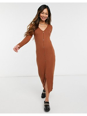 ASOS DESIGN ribbed midi dress with button front placket in brown
