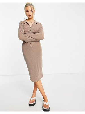 ASOS DESIGN ribbed midi shirt dress with ruching in taupe-brown