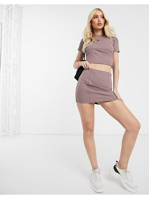 ASOS DESIGN ribbed mini skirt with tie waist two-piece-pink