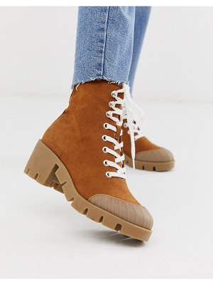 ASOS DESIGN ripple chunky lace up boots in tan
