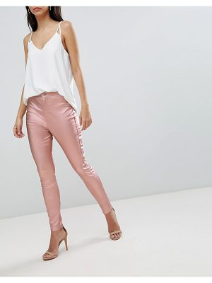 ASOS Design Rivington High Waist Denim Jeggings In Rose Gold Satine