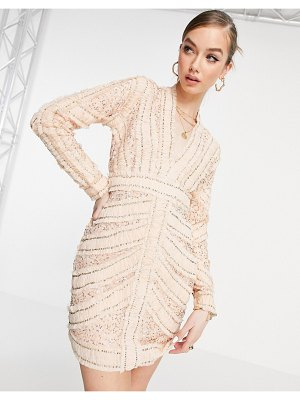 ASOS DESIGN ruched and embellished plunge mini dress with long sleeves-pink