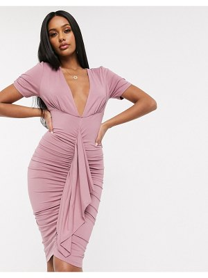 ASOS DESIGN ruched bodycon midi dress with plunge neck in mauve pink
