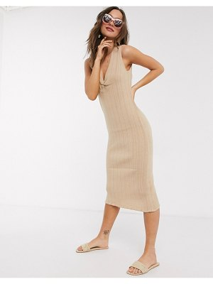 ASOS DESIGN ruched front knitted midi dress-stone