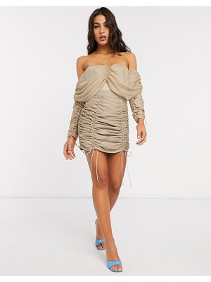 ASOS DESIGN ruched mini skirt two-piece in stone-beige