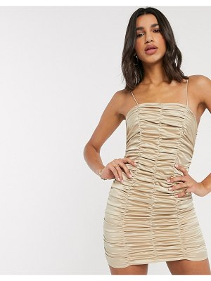 ASOS DESIGN ruched satin mini dress-beige