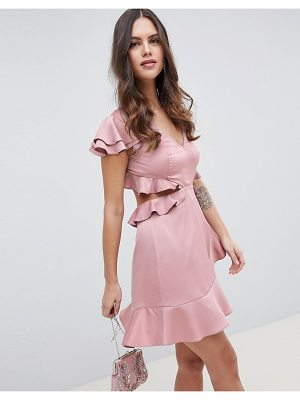 ASOS DESIGN ruffle mini dress in rippled satin with cut out back-pink