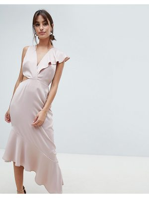 ASOS DESIGN satin deep plunge ruffle dress with cut out side
