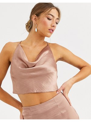 ASOS DESIGN satin halter cowl neck top two-piece