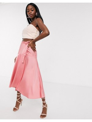 ASOS DESIGN satin maxi wrap skirt with tie waist detail in dusty rose-pink