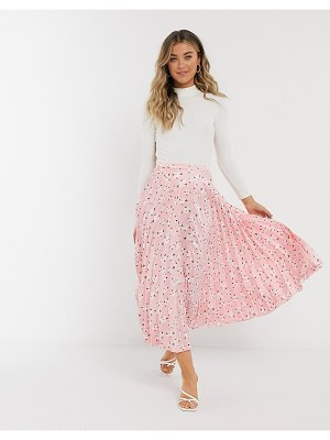 ASOS DESIGN satin pleated midi skirt in pink floral print