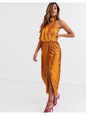 ASOS DESIGN scarf neck drape midi dress on all over sequin-brown