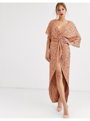 ASOS DESIGN scatter sequin knot front kimono maxi dress-brown